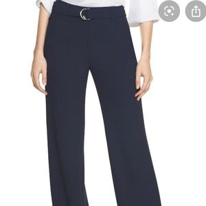 WHBM Tall Blue Soft Drape Wide Leg Belted Pant